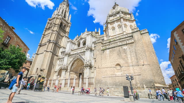 4k time lapse : toledo cathedral - cathedral stock videos & royalty-free footage