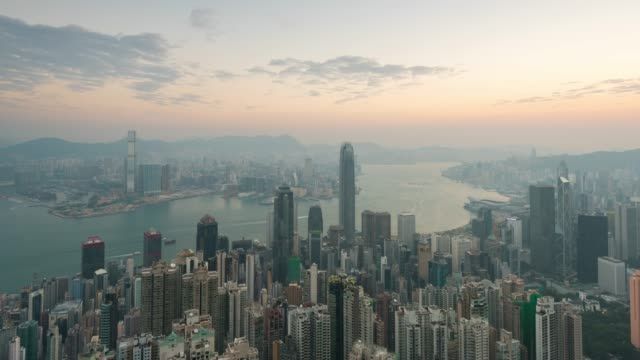 4K Time lapse : Top View Hong Kong City is part of china country