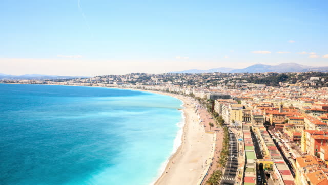 stockvideo's en b-roll-footage met 4 k time-lapse: top weergave in nice, frankrijk - frankrijk