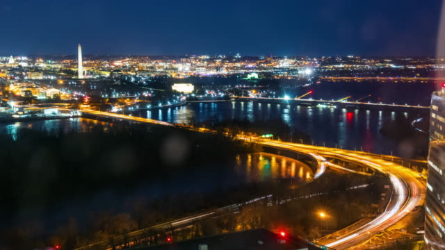 time lapse top view of cityscape at nighttime in washington, d.c., usa - film composite stock videos & royalty-free footage