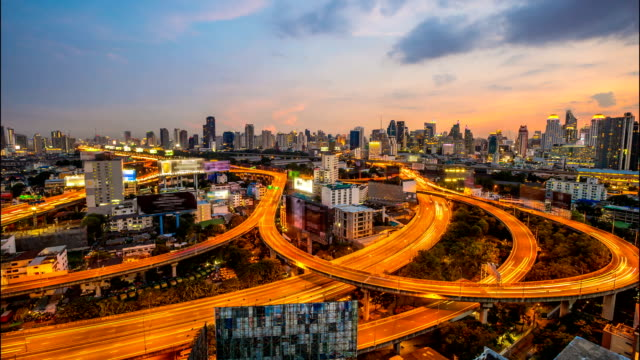 HD Time Lapse : Top view of Expressway and Highway on twilight time, Bangkok, Thailand