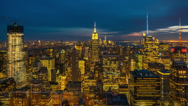 time lapse top view of new york cityscape at sunset time, united states - street light stock videos & royalty-free footage