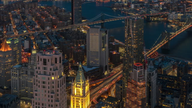 4k time lapse top view of new york cityscape which can see brooklyn bridge, manhattan and williamburg bridge over the east river, united states, architecture and landmark with transportation concept - river east stock videos & royalty-free footage
