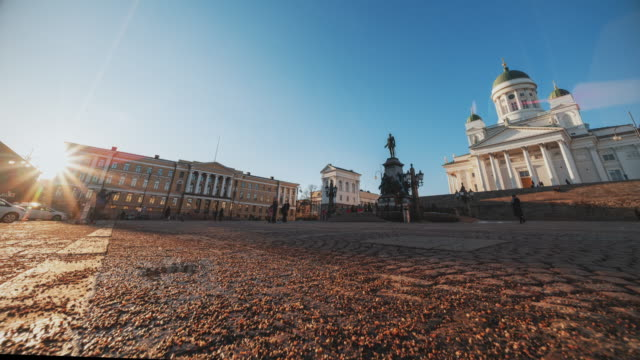 time lapse : tourist crowd travel at helsinki senate square with statue of alexander ii - travel destinations stock videos & royalty-free footage
