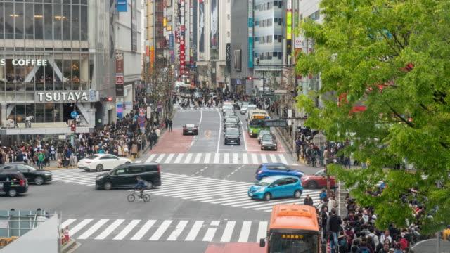 4kタイムラプス:渋谷で観光客が混雑。 - 祝賀行事点の映像素材/bロール