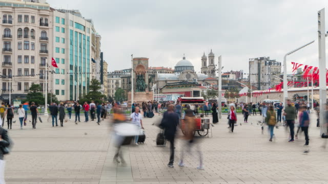 time lapse : tourist pedestrian crowded walking on holiday at taksim square istanbul city ,turkey - istanbul province stock videos & royalty-free footage