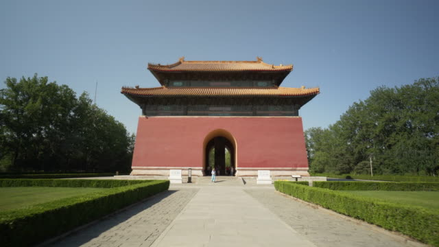 time lapse: tourists at entrance of shengong shengde stele pavilion at ming dynasty tombs - beijing, china - ming tombs stock videos and b-roll footage