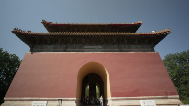 time lapse: tourists at shengong shengde stele pavilion against clear blue sky - beijing, china - ming tombs stock videos and b-roll footage