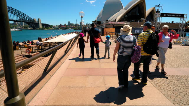 time lapse: tourists exploring sydney opera house on sunny day - fast motion stock videos & royalty-free footage