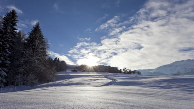Time Lapse Track shot of winter landscape in Savoie