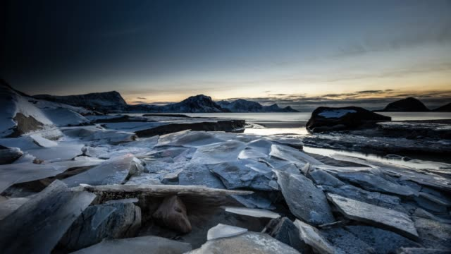 time lapse tracking shot - arctic landscape with cracked ice - ice floe stock videos & royalty-free footage