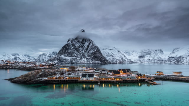 time lapse: traditional norwegian village - lofoten islands - fishing village stock videos and b-roll footage
