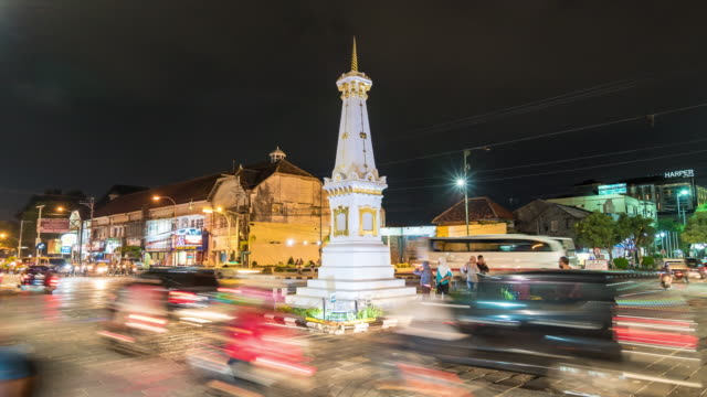 4K Time Lapse : Traffic at Tugu Yogyakarta.