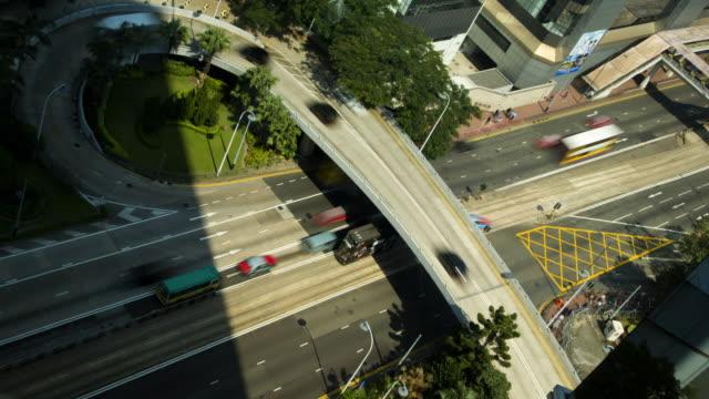time lapse traffic highway flyover hong kong china - hong kong island stock videos & royalty-free footage