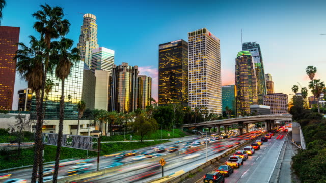time lapse : traffic in downtown los angeles, california - traffic time lapse stock videos & royalty-free footage
