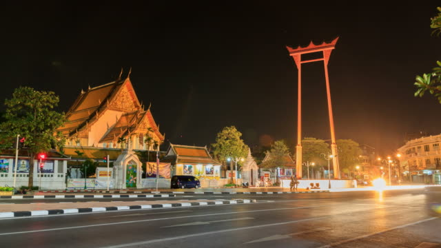 HD Time lapse : traffic in front of Bangkok Giant Swing  at night