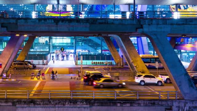 Time lapse : Traffic in front of the Suvarnabhumi Airport, Thailand