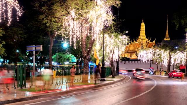 HD Time lapse : Traffic of Grand palace at night