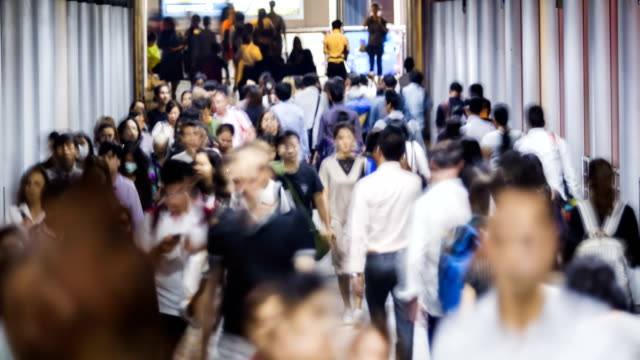 4K Time lapse :Transportation at Hong Kong.People walking on sidewalk