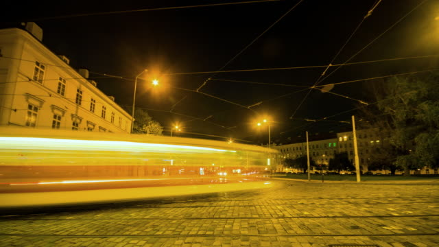 4k time lapse: transportation at night in prague - traditionally czech stock videos & royalty-free footage