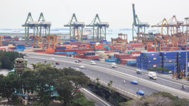 vídeos de stock, filmes e b-roll de lapso de tempo 4k: transshipment porto - proibido