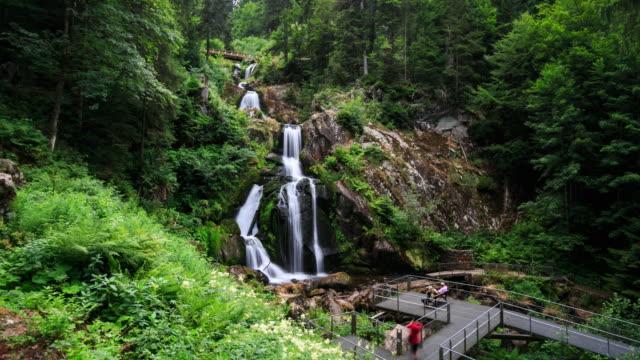 4k time lapse : triberg waterfalls - pedestrian walkway stock videos & royalty-free footage