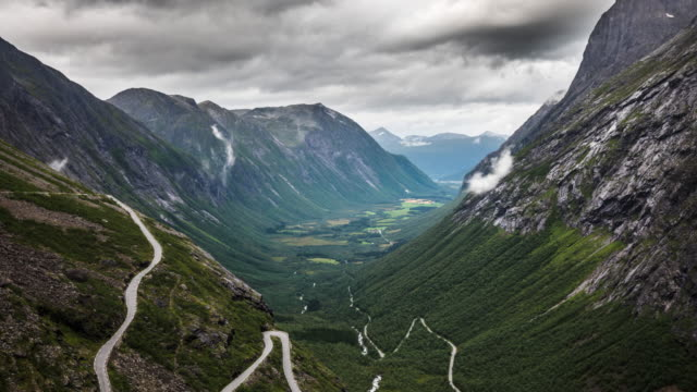 time lapse: trollstigen road in norway - mountain road stock videos & royalty-free footage