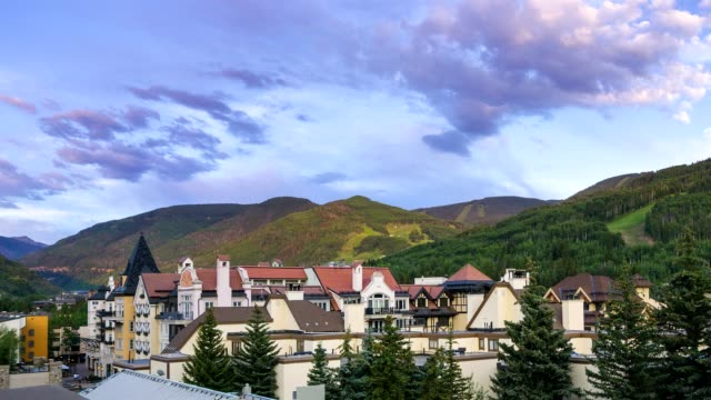 time lapse vail village lionshead - gore range stock videos and b-roll footage