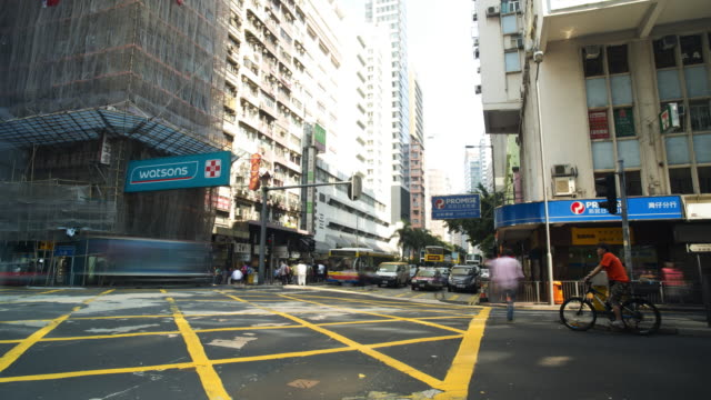 time lapse vehicle traffic intersection hong kong china - china east asia stock videos & royalty-free footage