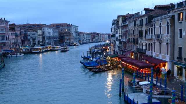4k time lapse venice sunset view from rialto bridge - grand canal venice stock videos & royalty-free footage