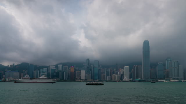 Time Lapse : Victoria Habour in the cloudy day, Hong Kong