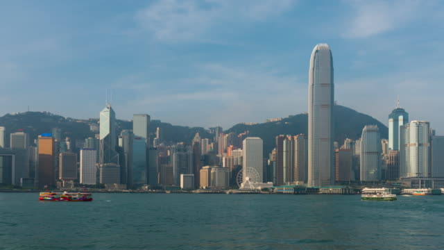Time Lapse : Victoria Harbour in the sunny day, Hong Kong