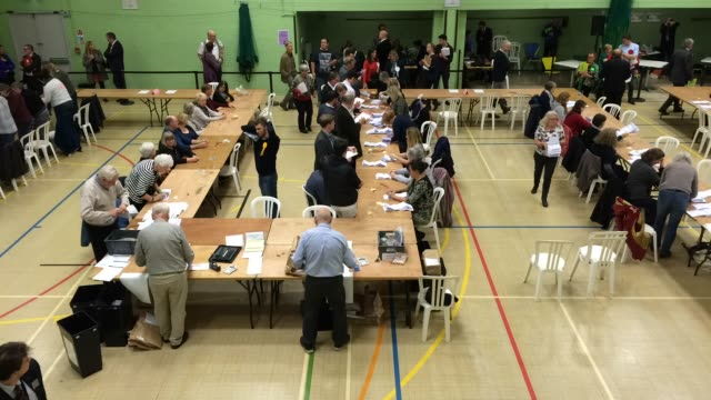 time lapse video as the votes are counted at the windrush leisure centre on october 20, 2016 in witney, england. the by-election in witney,... - oxfordshire stock videos & royalty-free footage