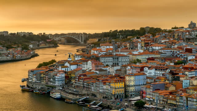 time lapse video at dom luís i bridge, porto, portugal - portugal stock videos & royalty-free footage