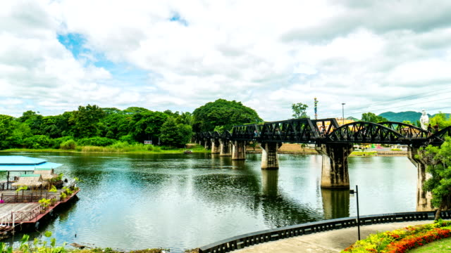time lapse video : bridge over the river kwai, kanchanaburi province, thailand - industrial revolution stock videos & royalty-free footage