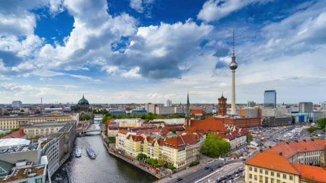 time lapse video of berlin city skyline with the iconic tv tower and the river spree - rathaus stock videos & royalty-free footage