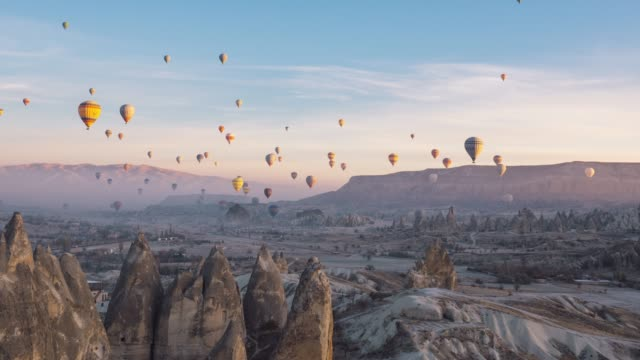 time lapse video of hot air balloons in cappadocia - image manipulation stock videos and b-roll footage