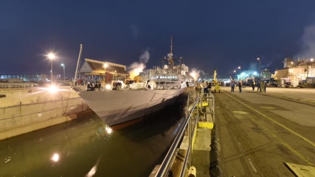Time lapse video of littoral combat ship USS Freedom coming out of the graving dock Freedom is currently completing a maintenance availability and...