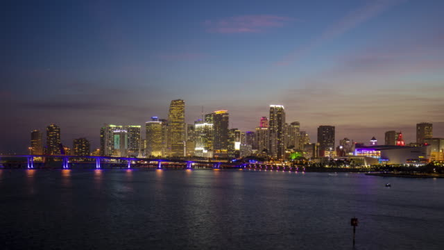 time lapse video of miami downtown skyline at sunset - miami dade county stock videos & royalty-free footage