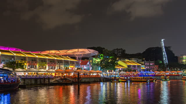 time lapse video of night singapore river at clarke quay jetty, singapore - singapore river stock videos & royalty-free footage