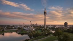 4 K Time Lapse Video of Olympic Park and Olympic Tower, Munich, Bavaria, Germany