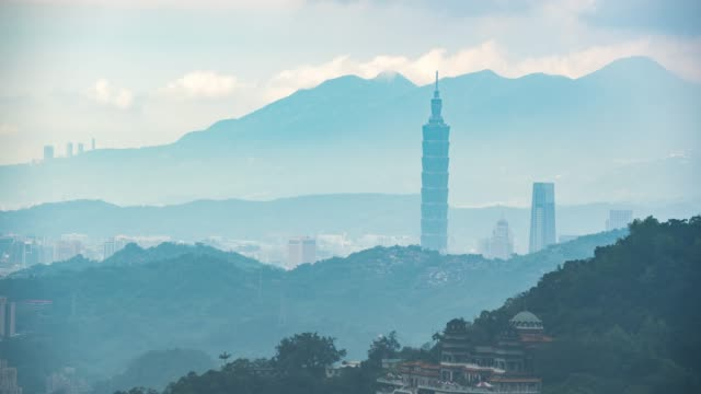 4K  Time Lapse : View Cityscape of Central  Downtown in Taipei, Taiwan