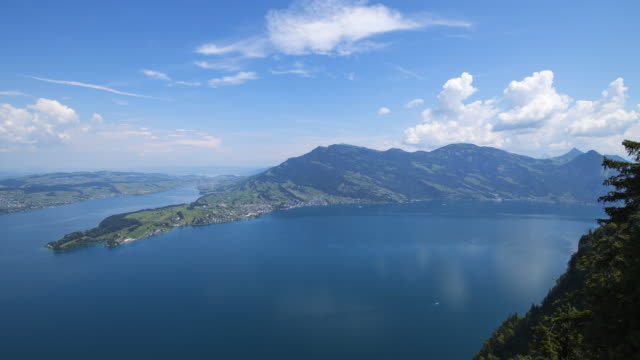 time lapse. view from the mountain bürgenstock (buergenstock 1128 m) over lake lucerne. bürgenstock, lake lucerne, canton lucerne, switzerland. - lake lucerne stock videos & royalty-free footage