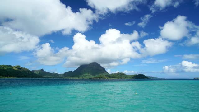 time lapse view mt otemanu mountain bora bora - polynesian ethnicity stock videos & royalty-free footage
