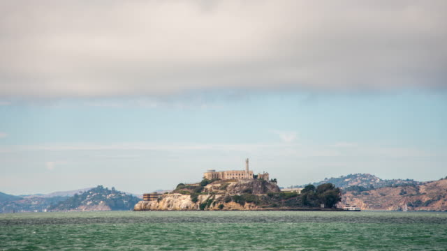 ws time lapse view of alcatraz island,san francisco,california,united states - alcatraz island stock videos & royalty-free footage