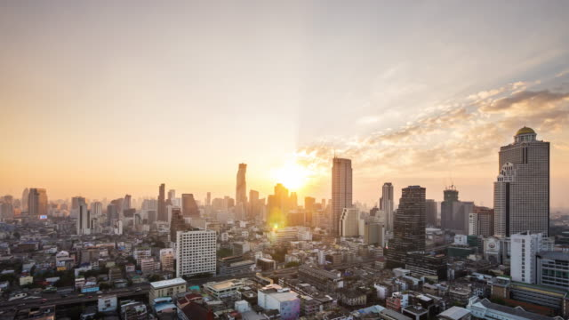 time lapse view of bangkok city skyline at sunrise, thailand - bangkok stock videos & royalty-free footage