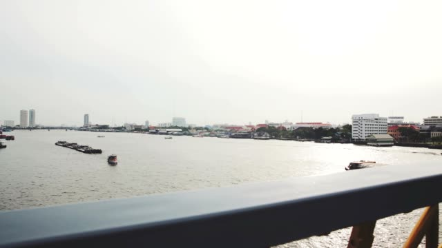 time lapse view of bangkok transportation rama8 bridge in morning. top view from rama8 bridge.on rama viii bridge u can see a chaopraya river in the moring sun rise and people start to working. - number 8 stock videos & royalty-free footage
