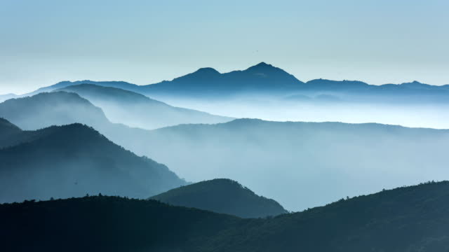 Time Lapse View of cloud sea flowing on the East-Asian-painting-like landscape of Mt Chirisan National Park (Famous Travel destinations in South Korea)