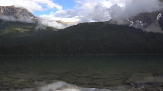 Time lapse view of clouds drifting above mountain lake