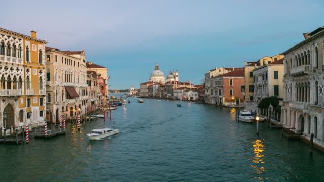 Time Lapse: View of famous Canal Grande and Basilica di Santa Maria della Salute in Venice, Italy